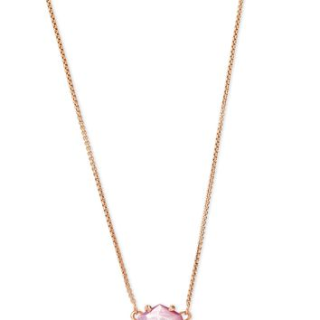 Kendra Scott: Ethan Rose Gold Pendant Necklace In Lilac Mother Of Pearl