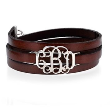 Leather Wrap Bracelet with Monogram - Silver