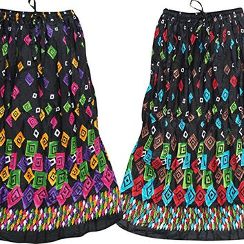 Mogul Interior Lots Of 2 Womens Long Skirt Vintage Crinkle Style Black Print Gypsy Boho Summer Festive Skirts Small
