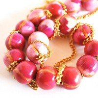 Handmade Polymer Clay Bead Necklace Pink Gold Chain Stripe Feathered