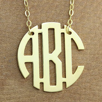 Circle Monogram Necklace - Name Necklace Personalized Name Necklaces Monogrammed 3 Initials Necklace Nameplate Necklace