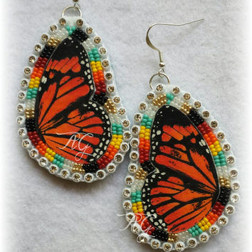 Beaded Monarch Butterfly Earrings Native American Made