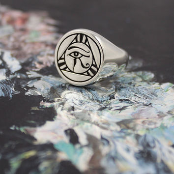 Eye of Horus Signet Ring, Silver Signet Ring, Egyptian Signet Ring