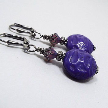 Purple Earrings, Drop Earrings, Gunmetal Plated, Ultra Violet, Made with Vintage Lucite Beads, Lever Back Hook