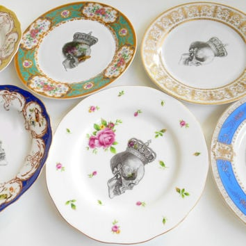 "6 Mix and Match Skull Salad plates, 7"" - 7.5"", PAYMENT PLANS AVAILABLE"