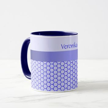 Blue pattern. Grid and silk band. Add your text. Mug