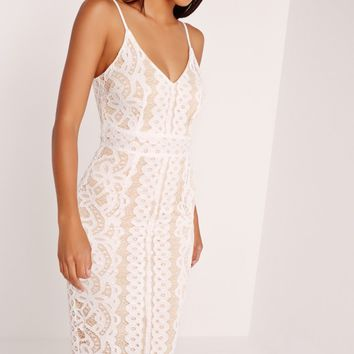 Missguided - Strappy Lace Midi Dress White