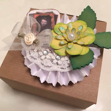 Gift Package Topper, Floral, Box Decoration, Gift Wrap, Embellishment, Paper Flower, Alternative Bow, Victorian Decor