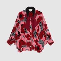 Gucci Poppies silk shirt with bow