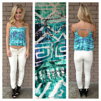 Mint & Royal St. Lucia Aqua Crop Tank