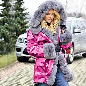 Hooded Faux Fur Splice Camouflage Coat