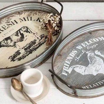 Country Farmhouse Decorative Display Oval Serving Trays Set of Two Metal, Wood