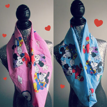 His & Hers Valentines Day Disney Mickey and Minnie Infinity Scarf Set