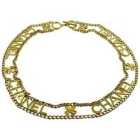Chanel Vintage Gold Toned Chain Belt with Chanel Letters and Clovers, 1998