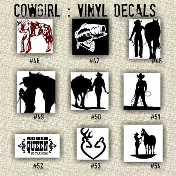 COWGIRL vinyl decals | country western | country girl | car decals | car stickers | laptop sticker - 46-54