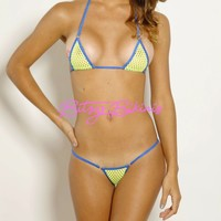 Micro G-String - Neon Yellow Fishnet-Electric Blue String - Silver Rings