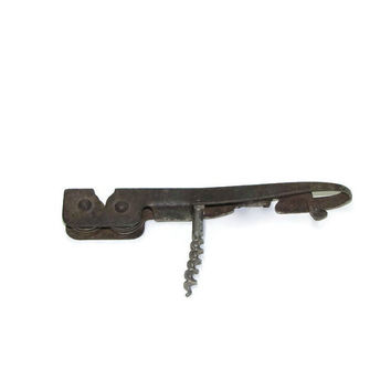 Vintage Combined Corkscrew / Can opener / Knife sharpener / Bottle opener / Wine opener / Metal Combined Opener