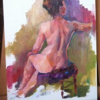 Classic Figure Art Nude Female Back Original Painting Colorful and Loose