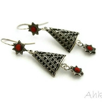 Handmade India Silver triangle earringsethnic silver by Ahkriti