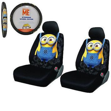 Licensed Official New 5pc Despicable Me Minions Car Front Seat Covers & Steering Wheel Cover Set