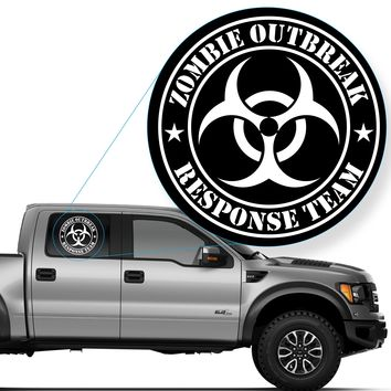 "Zombie Outbreak Response Team Decal Sticker for Car Window, Laptop and More. # 555 (12"" x 12"", White)"