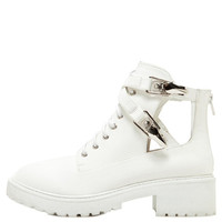 White Buckle Lace Up Bootie