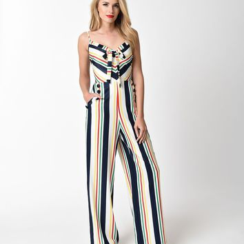 Voodoo Vixen 1970s Style White & Multi Striped Zarah Jumpsuit