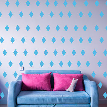 "Diamond Polka Dot Wall Decal, 2"" x 2"" Diamond Shape Decal, Nursery Wall Decor,  Kids Room Decor, Teen Room Polka Dot, 150pc set nm016"