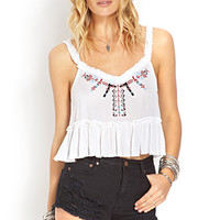 FOREVER 21 Folk Embroidered Crop Top White/Red Large