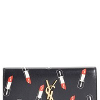 Women's Saint Laurent 'Monogram Lipstick' Calfskin Leather Wallet - Black