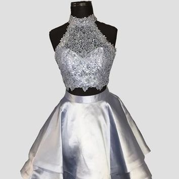 Sliver Halter Applique Homecoming Dresses,Backless Two Piece Homecoming Dresses With Beading