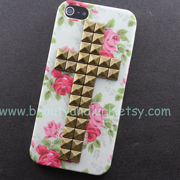 iphone 5 case,Cross Antique Bronze stud Iphone case, floral Iphone 5 Case, Iphone 5 Hard Case Cover