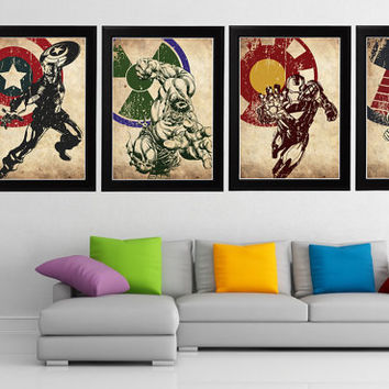 Avengers 4 Minimalist Poster Set, Captain America, Hulk, Iron man, Thor Movie Poster, Art Print