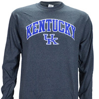 UK Kentucky Arch on a Long Sleeve Dark Heather T Shirt