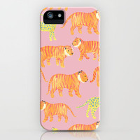 Pink Tigers iPhone & iPod Case by Sian Keegan