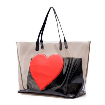 Black PVC Clear Transparent  Heart Bags