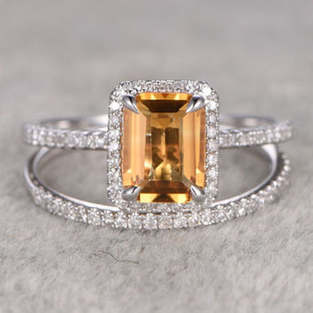 Emerald Cut Citrine Bridal Ring Set Diamond Wedding Band White Gold Thin Stacking Matching 14k/18k