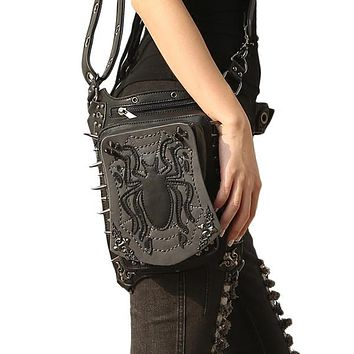 Spider Embossed Punk Waist Bag Black Rivets Steampunk Shoulder Messenger Bags