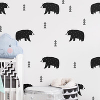 Bear Wall Decals - Nursery Decals, Woodland Decals, Tree Wall Decals, Forest Decals, Removable Wall Stickers