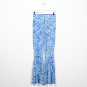 Vintage 90s Bell Bottoms Blue Floral Print SHEER Mesh Pants 1990s Club Kid Rave Pants Elephant Bells Ruffle Netting Bodycon Pants XS S Small