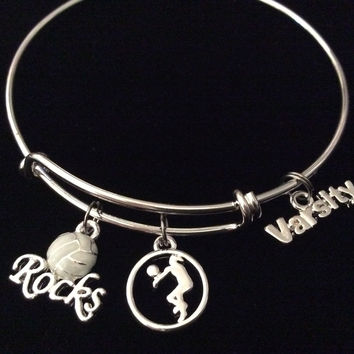 Varsity Volleyball Rocks Silver Expandable Charm Bracelet Adjustable Wire Bangle Sports Team Gift