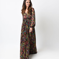 1970s Style Dark Floral Long Sleeve Shimmer Maxi Dress