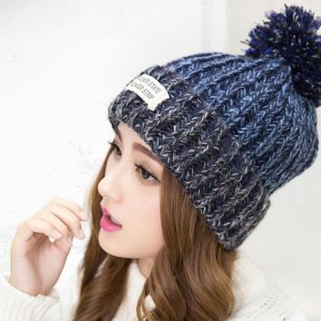 PEAPUNT 2016 New Fashion Woman's Warm Woolen Winter Hats For Women Knitted Pompom Fur Balls Cap Woman Gorros Skullies Beanies Hat KQC032