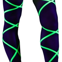 Neon Yellow Black Light Leg Wraps