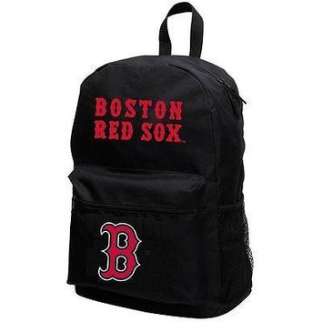 "BOSTON RED SOX 18""H x 6.5""D x 12""W BACKPACK W/ 2 COMPARTMENTS, MESH SIDE POCKETS"