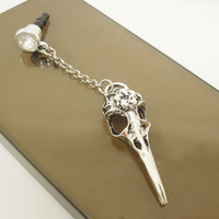 1PC Retro Raven Skull Cell Phone Earphone Stopper Antidust Plug Charm for iPhone, Samsung, HTC, Nokia