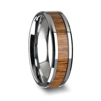 Genuine Teak Wood Inlaid Tungsten Wedding Band With Beveled Edges 6mm - 10mm