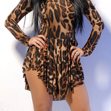 Round Neck Long Sleeve Leopard Print Chiffon Dress