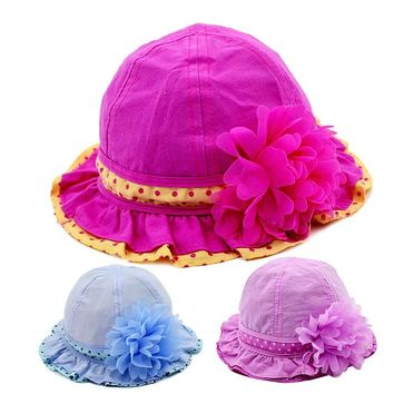 Flower Baby Girls Hat Solid Panama Bucket Hat Spring Autumn Sun Cap Cotton Soft Toddler Cap Lace Dots Hat Baby Girls Clothing