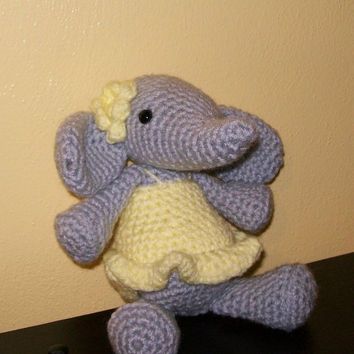 Crocheted Baby Elephant  Stuffed Animal   Amigurumi by meddywv
